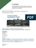 Razonamiento Verbal Examen de Asimilacion PNP 2016 - Preguntas de Razonamiento Verbal