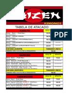 Tabela Atacado Kimonos Shizen 08-2014 ( Atacado )