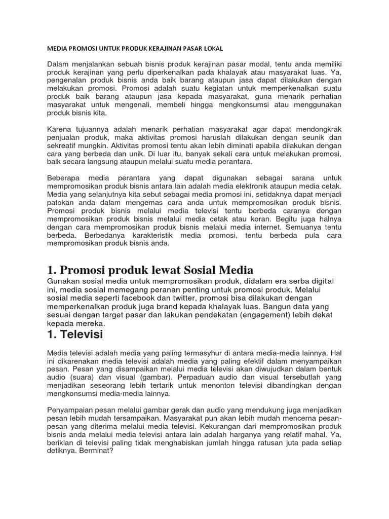 Contoh Gambar Promosi Iklan Produk Kerajinan Untuk Pasar Lokal Ide Ide Unik