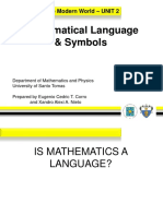 2.0 - Mathematical Language and Symbols _including Sets_(1)