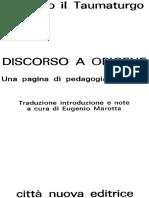 Discorso a Origene - Gregorio Il Taumaturgo