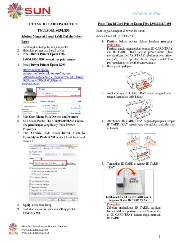 Epson L805 Id Card Tray