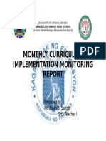 Monthly Curriculum Report Front Page