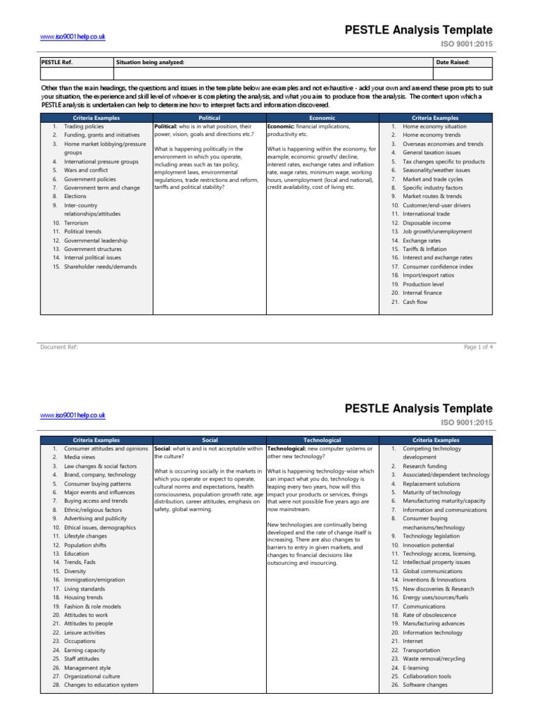 pestle analysis template pdf Within Pestel Analysis Template Word 2