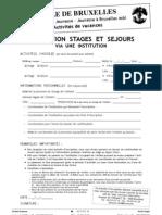 Inscription Stages Sejours via Institution