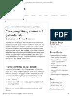 Cara Menghitung Volume m3 Galian Tanah – Analisa Harga Satuan