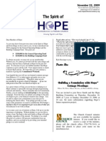 Nov 22 2009 Spirit of Hope Newsletter, Hope Evangelical Lutheran Church