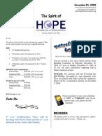 Nov 29 2009 Spirit of Hope Newsletter, Hope Evangelical Lutheran Church
