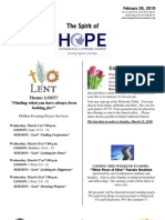 Feb 28 2010 Spirit of Hope Newsletter, Hope Evangelical Lutheran Church