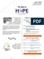 Jun 27 2010 Spirit of Hope Newsletter, Hope Evangelical Lutheran Church