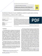 Densification Behaviour of Pure Molybdenum Powder by Spark Plasma Sintering