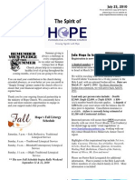 Jul 25 2010 Spirit of Hope Newsletter, Hope Evangelical Lutheran Church