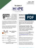 Aug 1 2010 Spirit of Hope Newsletter, Hope Evangelical Lutheran Church