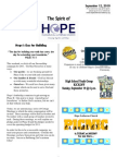 Sep 12 2010 Spirit of Hope Newsletter, Hope Evangelical Lutheran Church