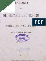 Memoria Del Secretario Del Tesoro y Crdito Nacional Al Congreso de 1866