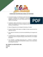 Condiciones de Entrega del Manual de Funciones