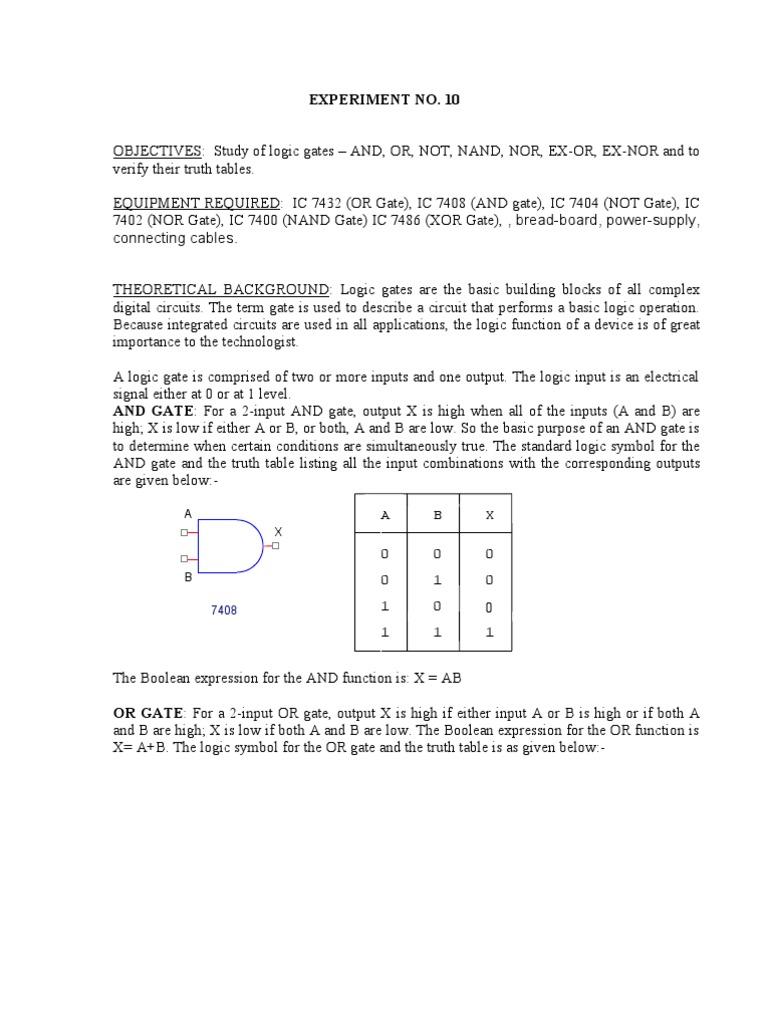 Exp 10 Boolean Algebra Logic Gate Nor Circuit