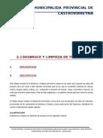 02.01 Desbroce y Limpieza Del Terreno