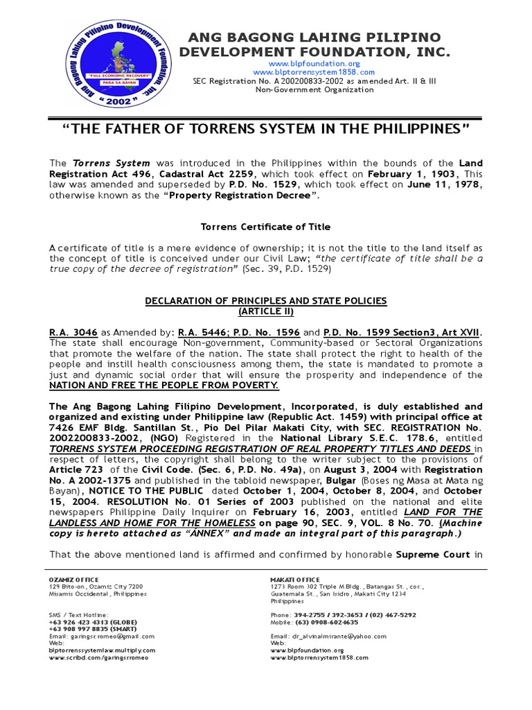 25831240 The Father Of Torrens System In The Philippines Title