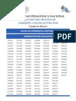 FoliosAceptadosLicenciaturas2018