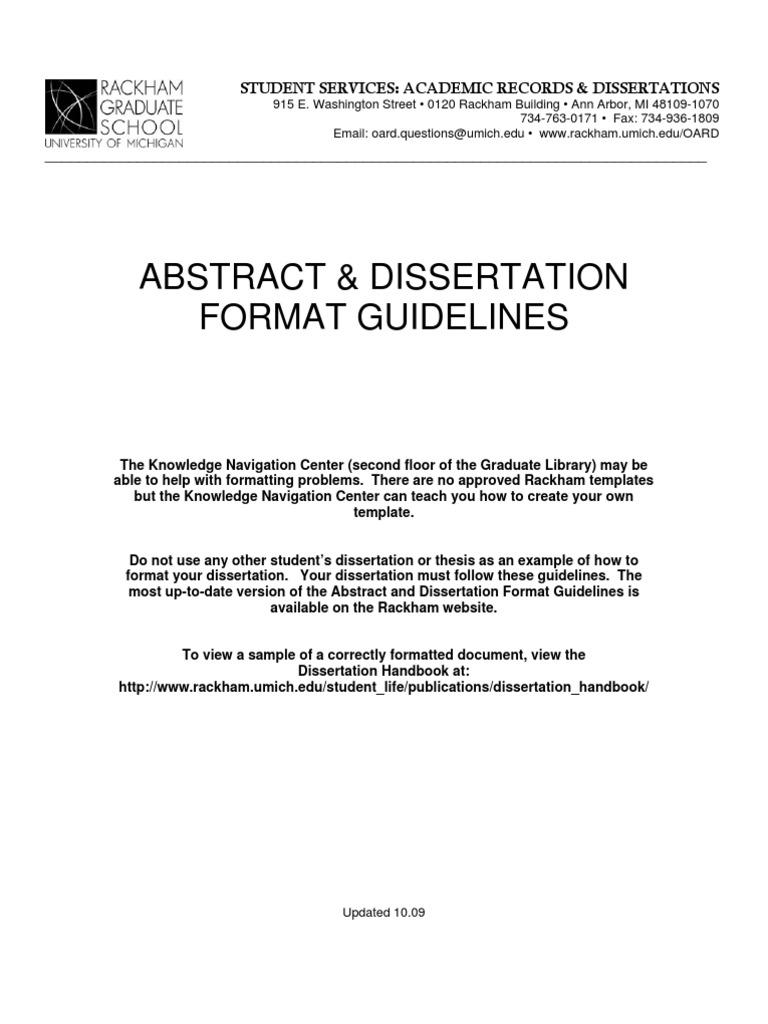 dissertation format sample