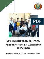 Ley Municipal 121 Para Discapacitados cochabamba