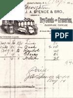 J.A. Spence Sales Receipt