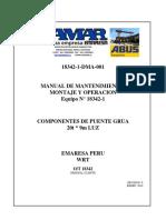 Manual de Operación, Instalación y Mantenimiento p.grua Abus 20 Ton.