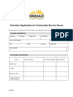 Volunteer Form for Community Service