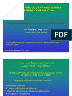 PRIVATE EQUITY E GOVERNANÇA CORPORATIVA