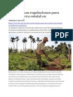 Cuba Nuevas Regulaciones Para Poseer Tierra Estatal en Usufructo