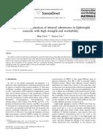 Aplicación Experimental de Aditivos Minerales en Peso Ligero