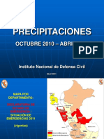 Resumen de Precipitaciones Pluviales Al 18MAY2011 1600hrs