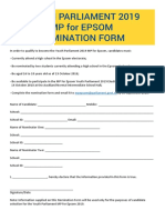 Youth Parliament Epsom 2019 Nomination Form