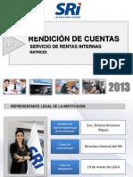 Informe de Rendición de Cuentas del SRI Ecuador 2013