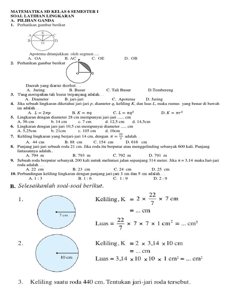 Matematika Sd Kelas 6 Semester I Soal Lingkaran