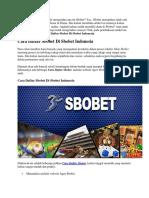 Cara Daftar Sbobet Di Sbobet Indonesia | Goodlucky99