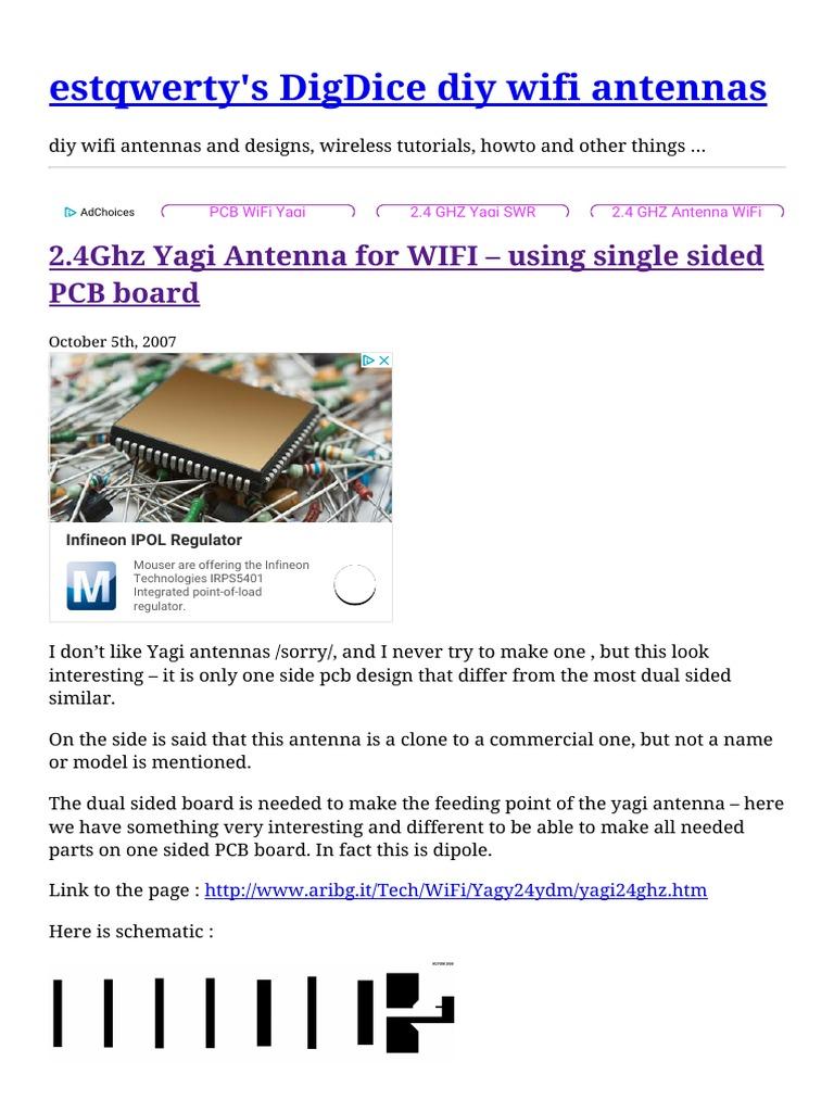 2 4Ghz Yagi Antenna for WIFI – using single sided PCB board