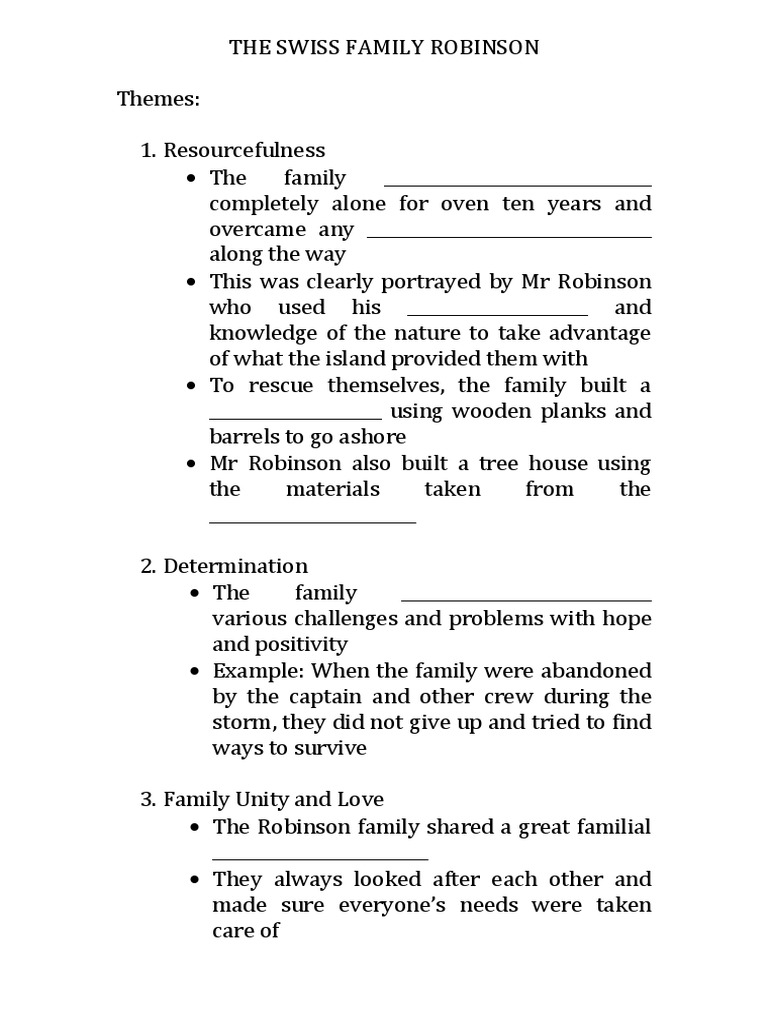 The Swiss Family Robinson Themes and Moral Values | The Swiss Family