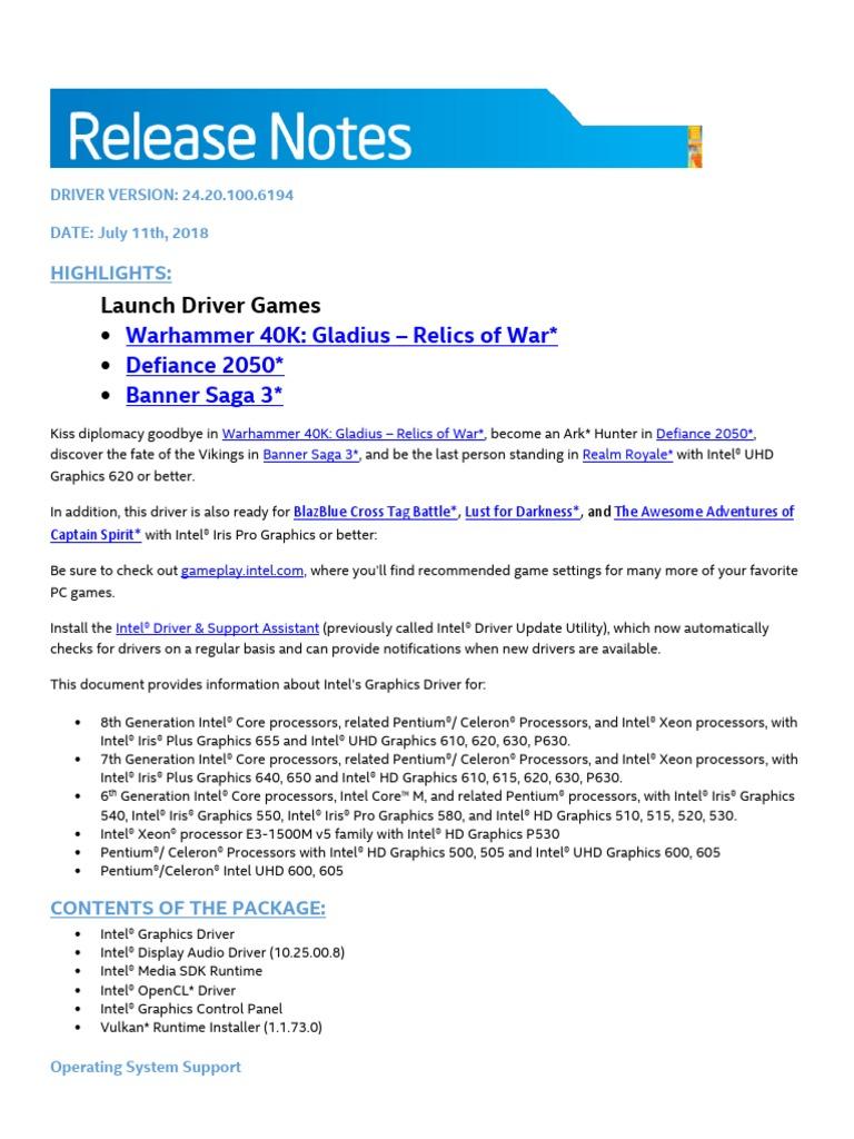 ReleaseNotes_24 20 100 6194 | Intel | Computer Architecture