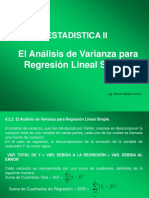 Analisis de v. Para Regresión Lineal Simple