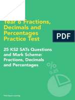 Fractions, Decimals and Percentages Practice Test