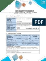 Guía de actividades y rubrica de evaluación Fase 1 - Informar - Analiza artículo