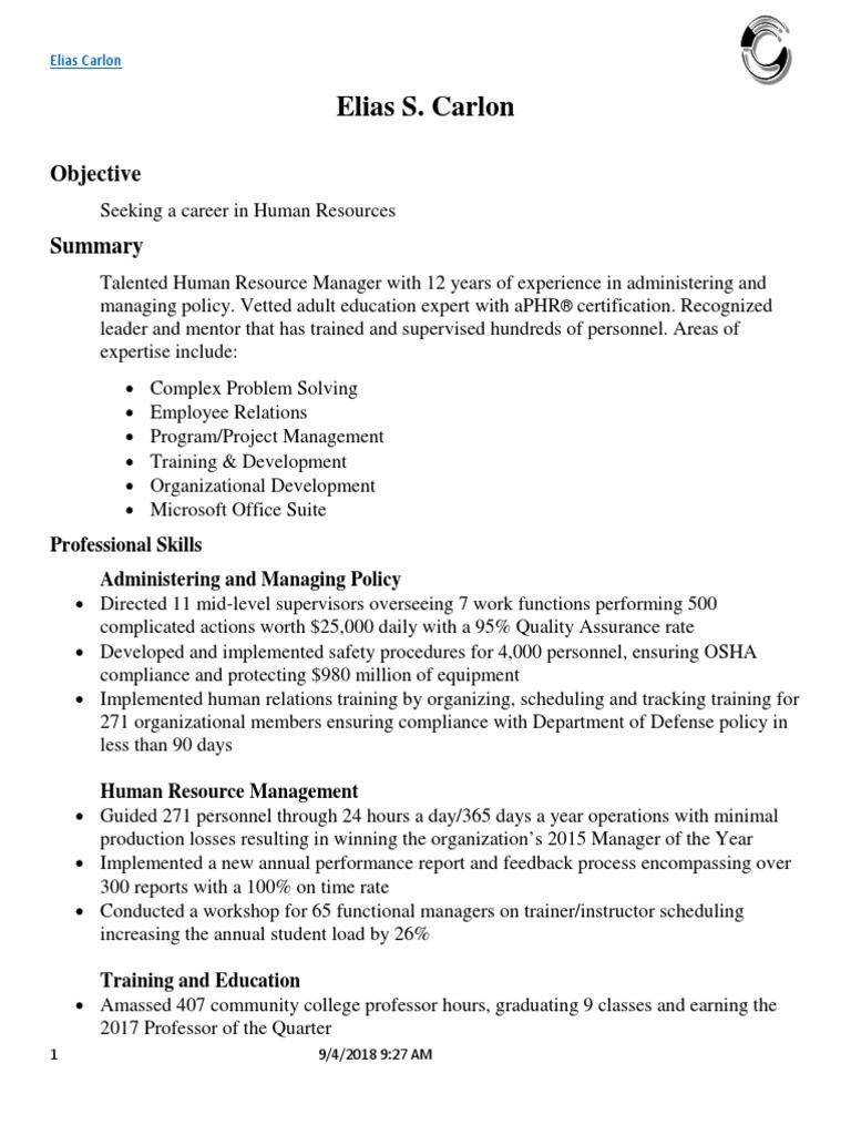 Elias Carlon Resume Human Resources Human Resource Management