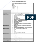Placement Exam Information Sheet-FDN434