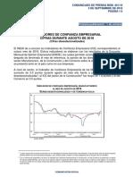 Indicadores de Confianza Empresarial. Cifras durante Agosto de 2018. (Cifras desestacionalizadas)