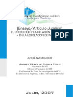 El Proveedor y La Relación de Consumo - En la Legislación de Indecopi - Andree Tudela