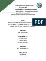 Calcular La Potencia Mediana de La Señal Recibida en La Upse{Facsistel} en El Enlace Facsistel y El Municipo de Salinas Usando Cualquier Modelo de Propagación y SAPO
