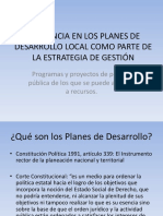Incidencia en Los Planes de Desarrollo Local