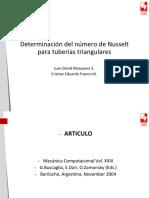 Determinación del número de Nusselt para tuberías triangulares.pptx